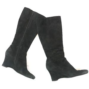 Nine West Suede Heeled Wedge Boots Black size 8M